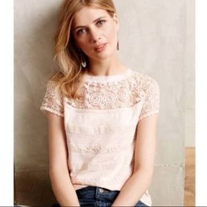 Anthropologie Meadow Rue Pink Lace Short Sleeve